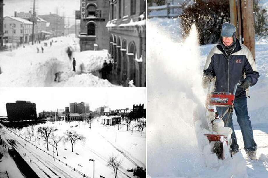 TOP LEFT: New Haven Historical Society The Blizzard of 1888 paralyzed the state with 50 inches of snow over three days. Here, people dig out Church Street in New Haven. (New Haven Historical Society); BOTTOM LEFT: The New Haven Green is white with snow and people walk the streets after the Blizzard of 1978 shut down Connecticut for days. (File Photo); RIGHT: Donald Seipel clears snow in front of a neighbor's house on Lafayette Street in Milford after last week's storm. Seipel is using the same snowblower he used to clear snow after the Blizzard of 1978. (Photo by Peter Casolino/Register)