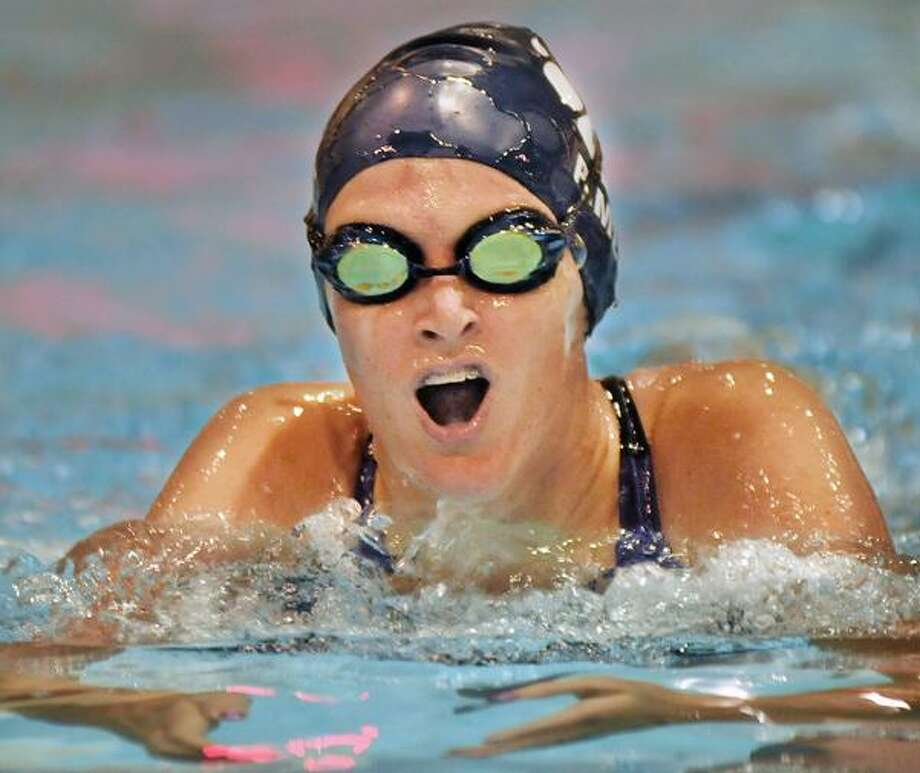 Mercy's Sam Pimer, above, placed first in the 100 breaststroke against Lyman Hall at the Wesleyan Natatorium at Freeman Athletic Center in Middletown. The Tigers defeated Lyman Hall, 95-75. (Catherine Avalone / TheMiddletownPress