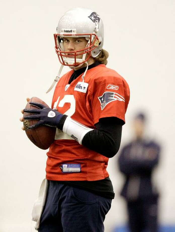 AP New England Patriots quarterback Tom Brady (12) during practice at the team's facility in Foxboro, Mass., Wednesday. The Patriots will play the New York Jets in an AFC Divisional round playoff game Sunday in Foxboro.