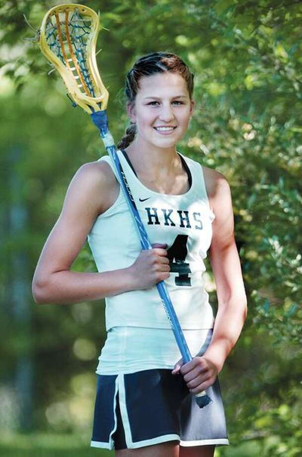 H-K girls lacrosse player, junior Emily Anderson. (Catherine Avalone / Middletown Press).