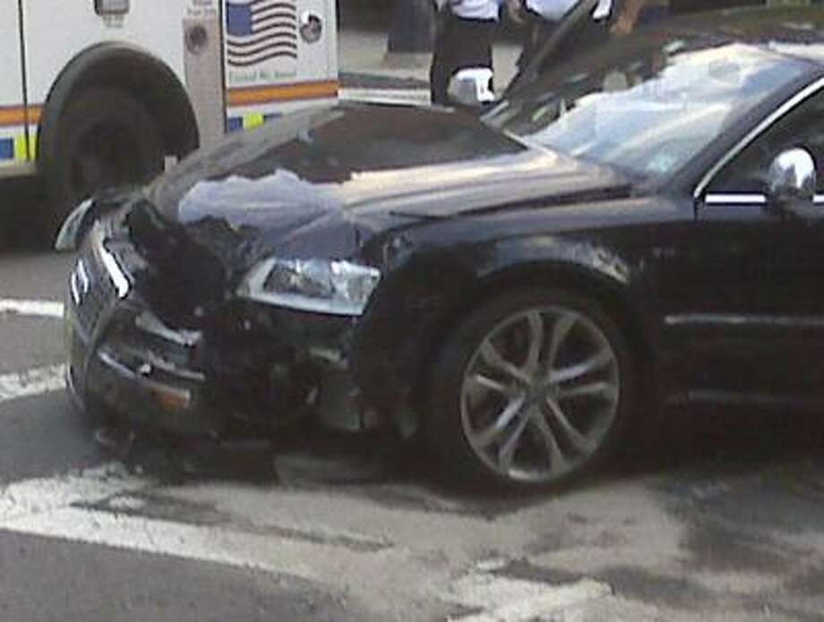 This cell phone photo provided by John McMahon shows an automobile driven by New England Patriots quarterback Tom Brady after it was involved in an early morning accident in Boston, Thursday. (AP) Photo: AP / John McMahon