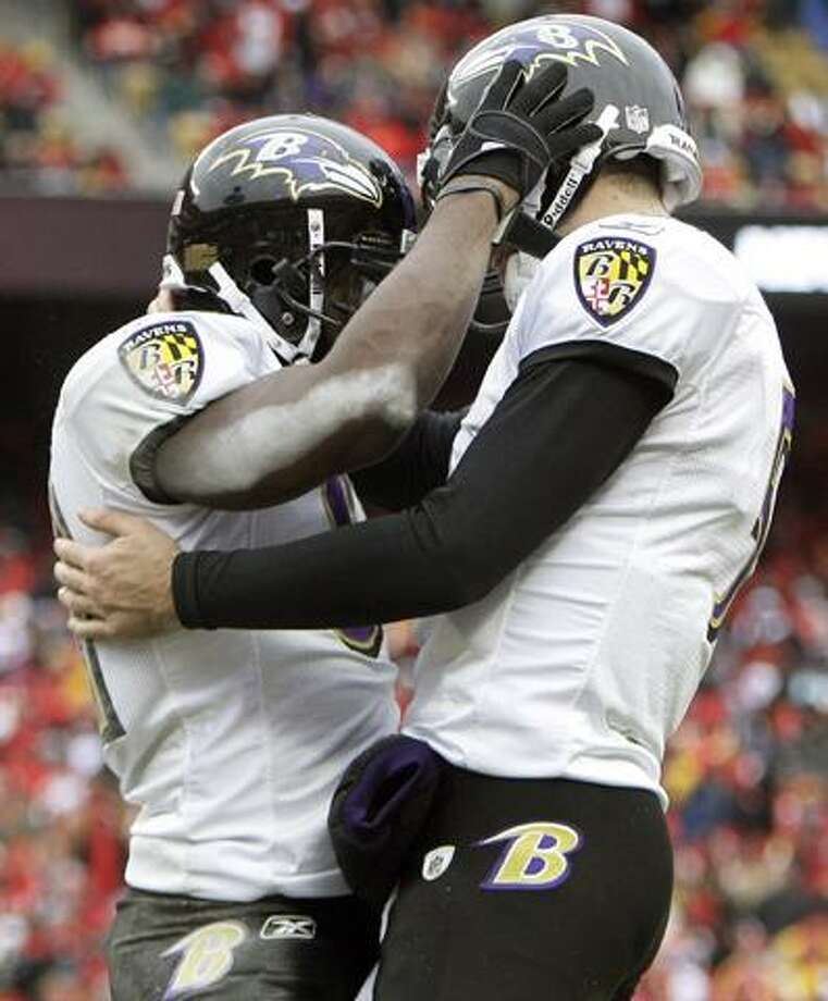 After scoring on a  during the third quarter of an NFL AFC wild card football playoff game Sunday, Jan. 9, 2011, in Kansas City, Mo. (AP Photo/Jeff Roberson)