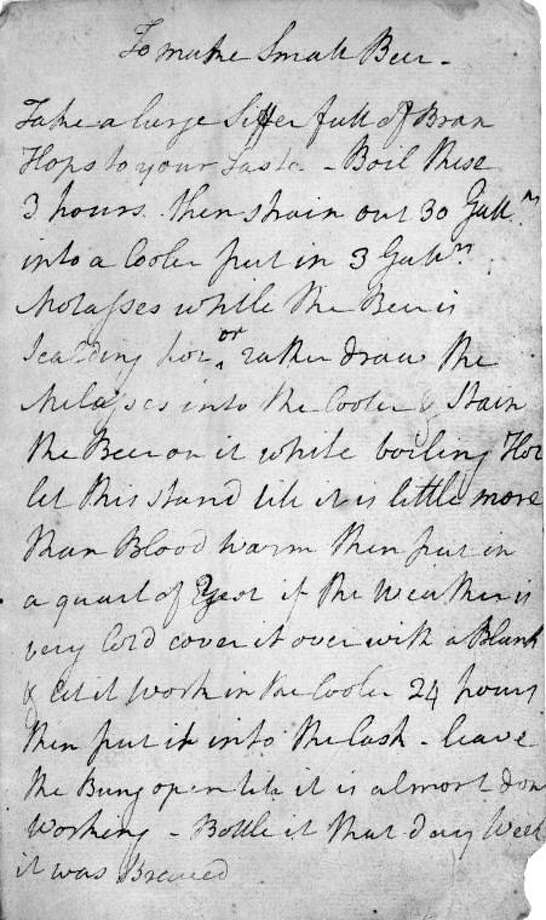 """This undated photo provided by the New York Public Library shows George Washington's handwritten recipe for beer. Washington is famous for many things. But it's safe to say few know the nation's founding father created a recipe for beer. In celebration of its 100th anniversary on May 23, 2011, the New York Public Library is partnering with Coney Island Brewing Company in Brooklyn to create a limited amount of """"Fortitude's Founding Father Brew."""" (AP Photo/New York Public Library) Photo: ASSOCIATED PRESS / AP2011"""