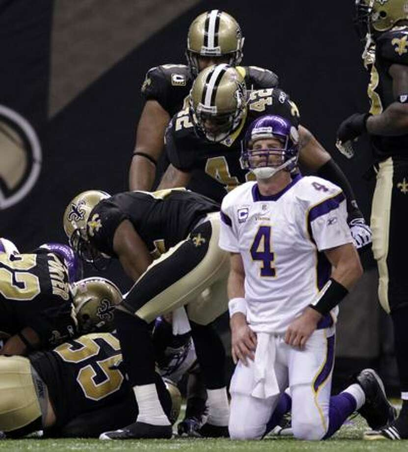 Brett Favre and The Minnesota Vikings will meet the New Orleans Saints Thursday in a rematch of last season's NFC championship game to kick off the 2010 NFL season. Photo: ASSOCIATED PRESS / AP