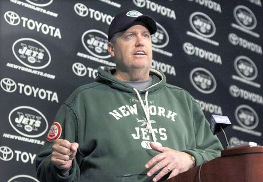 New York Jets coach Rex Ryan answers a question during an NFL football news conference, Tuesday, Jan. 4, 2011, in Florham Park, N.J. The Jets are scheduled to play the Indianapolis Colts in a playoff game on Saturday, Jan. 8 in Indianapolis. (AP Photo/Mel Evans) Photo: ASSOCIATED PRESS / AP2011