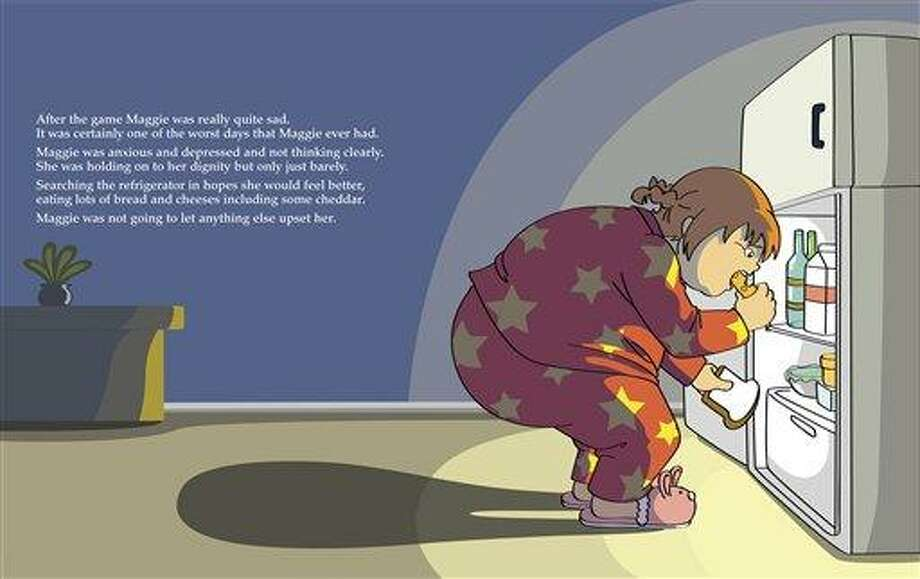 """This book page image courtesy of Aloha Publishers shows an inside page from """"Maggie Goes on a Diet,"""" by Paul M. Kramer, illustrations by Mari Kuwayama. The self-published book doesn't come out until October, but there's already online outrage over it.     (AP Photo/Aloha Publishers) Photo: AP / Aloha Publishers"""