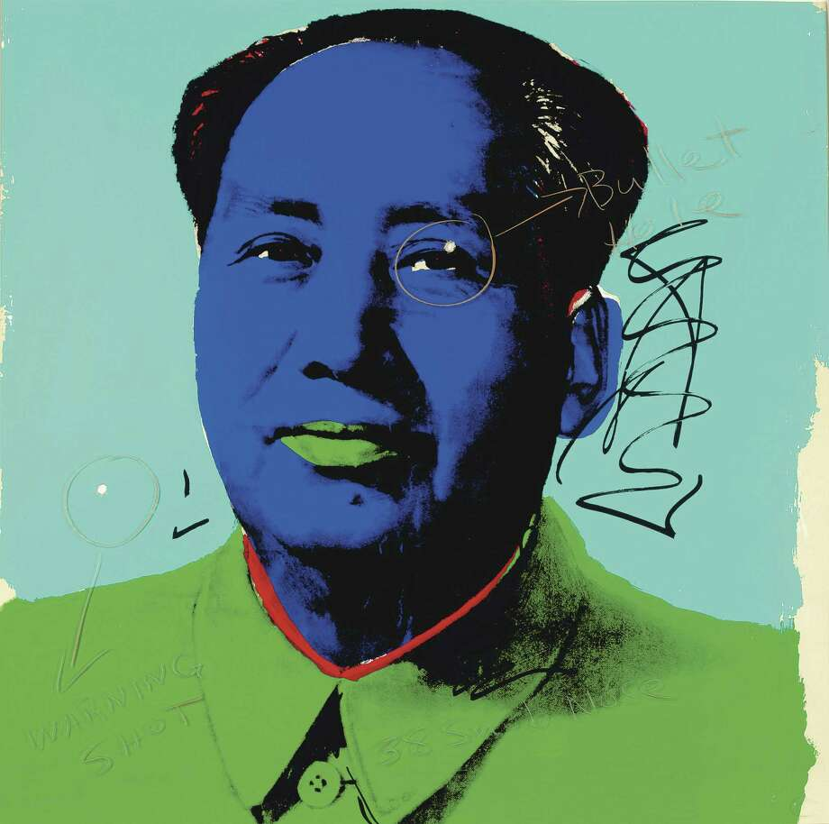 "This image provided by Christie's auction house in New York shows a portrait of Mao Zedong by Andy Warhol, with two bullet holes put there by ""Easy Rider"" star Dennis Hopper. Hopper shot two bullet holes through the picture, but instead of earning the wrath of the artist, Warhol honored him by listing him as the work's collaborator. The screenprint will be sold by Hopper's estate during a two-day auction of his collection at Christie's Jan. 11-12.  (AP Photo/Christie's Images Ltd. 2010) Photo: ASSOCIATED PRESS / AP2011"