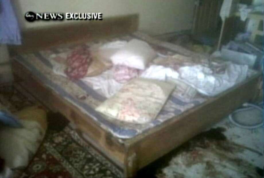 This frame grab from video obtained exclusively by ABC News, on Monday, May 2, 2011, shows a section of a room in the interior of the compound where it is believed al-Qaida leader Osama bin Laden lived in Abbottabad, Pakistan. Bin Laden, the face of global terrorism and mastermind of the Sept. 11, 2001, attacks, was tracked down and shot to death in Pakistan, Monday, May 2, 2011, by an elite team of U.S. forces, ending an unrelenting manhunt that spanned a frustrating decade. (AP Photo/ABC News) Photo: AP / ABC News