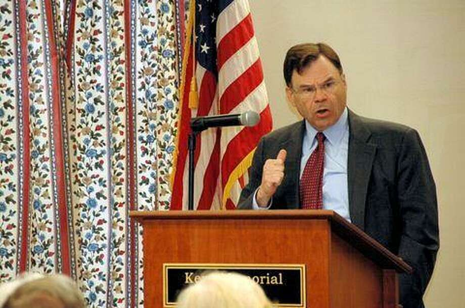 National Security Expert James Locher III, speaking in the Kent Memorial Library series over the weekend. Photo by Robert Markowicz.