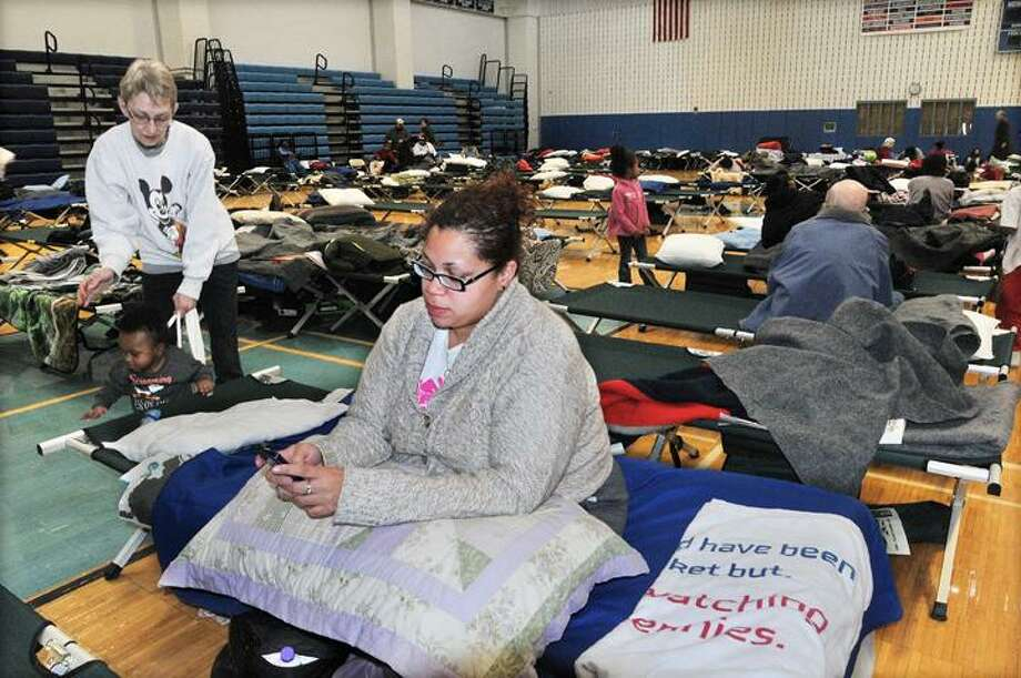 The Middletown Press  10.31.11  Middletown residents  Frank Jenkins and his 91 year old mother, Bertha Boykin will spend the night in the emergency shelter at Middletown High School. Jenkins said his mother was asked to evacuate the shelter at Shiloh Senior Manors on Butternut Street in Middletown.