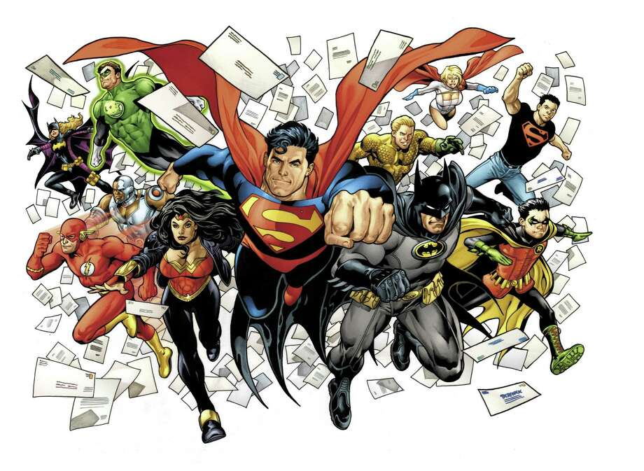 In this image released by DC Comics, including, front row from left, The Flash, Wonder Woman, Superman, Batman and Robin, back row from left, Batgirl, Cyborg (behind The Flash), Green Lantern, Aquaman, Power Girl and Superboy are shown. (AP Photo/DC Comics) Photo: AP / DC Comics