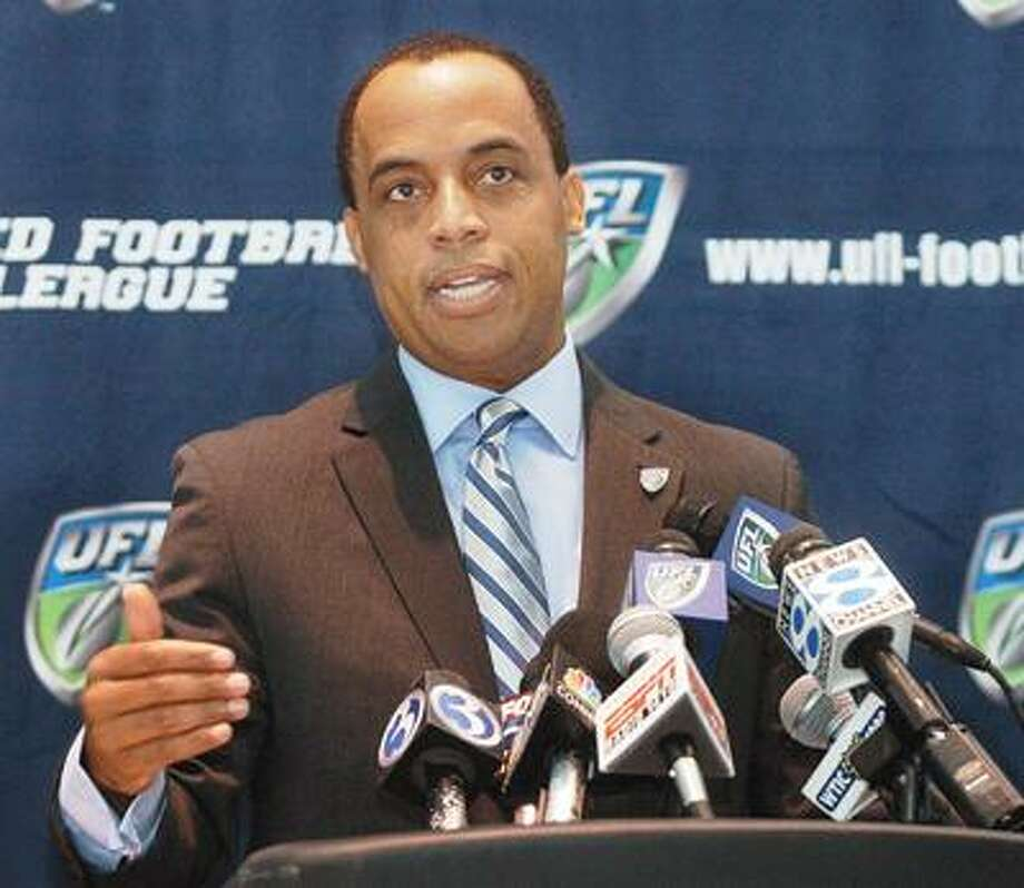 Commissioner of the United Football League, Michael Huyghue, speaks to the media at a press conference held Tuesday at Rentschler Field. After a lackluster first season, the UFL will establish itself in Hartford for the 2010 season. (Catherine Avalone / The Middletown Press)