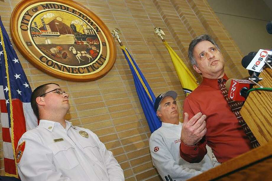 This file photo shows Middletown Mayor Sebastian N. Giuliano giving an update regarding the explosion at the Kleen Energy plant at a press conference at the Council Chambers at City Hall Feb. 8, 2010. (Catherine Avalone