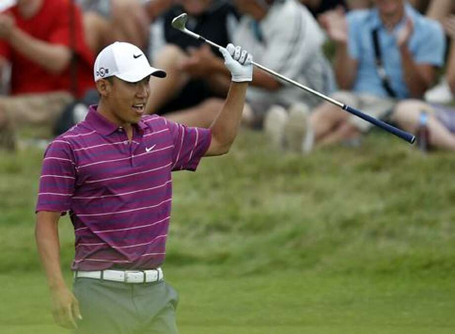 Anthony Kim reacts to a shot during the second round of the PGA Championship golf tournament Friday, Aug. 13, 2010, at Whistling Straits in Haven, Wis. (AP Photo/Jeffrey Phelps) / AP2010