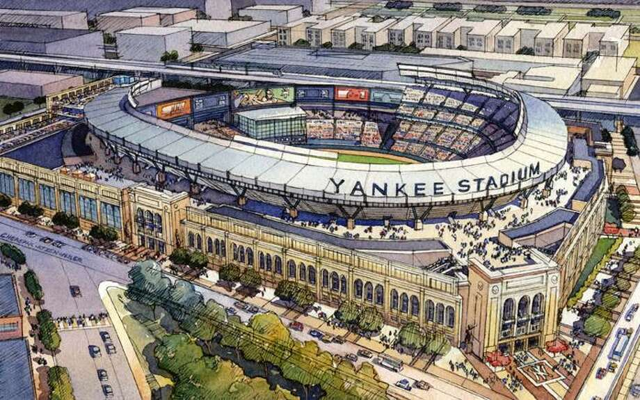 This is an architecural rendering of the new Yankee Stadium in the Bronx borough of New York. (AP)
