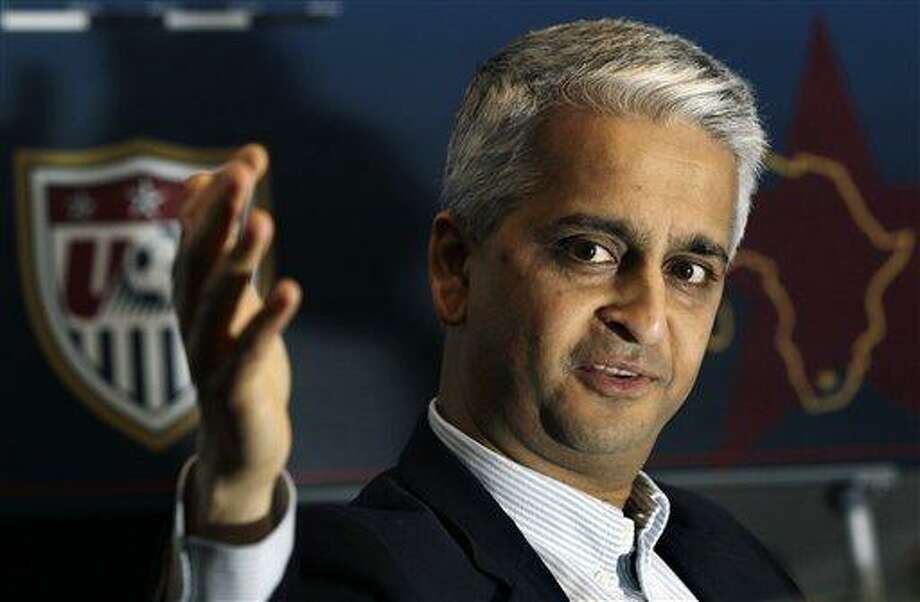 U.S. Soccer Federation President Sunil Gulati speaks during a news conference in Johannesburg, Monday. Gulati said that the American team did not meet expectations at the World Cup and that he will likely meet with Coach Bob Bradley after the tournament to discuss his future. (AP) Photo: AP / AP