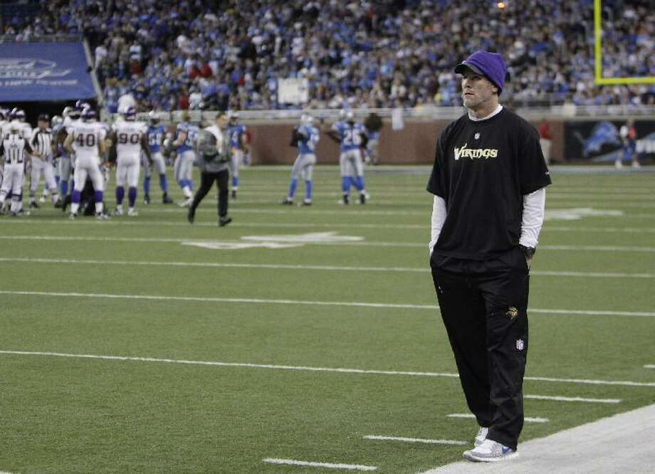 AP Minnesota Vikings quarterback Brett Favre watches from the sidelines in the fourth quarter of their game against the Detroit Lions in Detroit, Sunday. The Lions won 20-13. Favre says his career is over.