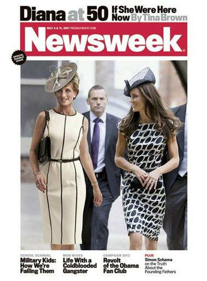 In this magazine cover image released by Newsweek, a computer-generated image of Princess Diana is shown with Kate Middleton on the cover of the July 4, 2011 issue of Newsweek magazine. Diana was killed in a car accident in 1997 and would have turned 50 on Friday. In April, Middleton married Prince William, the oldest son of Diana and Prince Charles. (AP Photo/Newsweek) Photo: AP / Newsweek