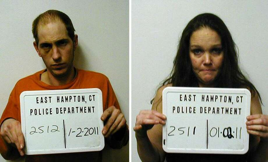 Anthony Surrell, left, and Andrea Favale were arrested Sunday by East Hampton police. Photo courtesy East Hampton police department