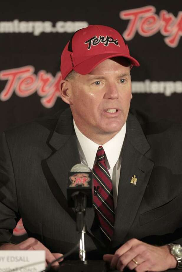 Randy Edsall speaks at a news conference after being introduced as the new head football coach at the University of Maryland, Monday, Jan. 3, 2011, in College Park, Md. (AP Photo/Rob Carr) Photo: ASSOCIATED PRESS / AP2011