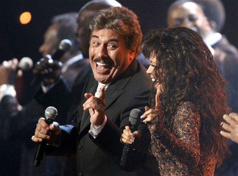 Tony Orlando, left, and Marie Osmond perform during the the American Bandstand Tribute at the 37th Annual Daytime Emmy Awards on Sunday in Las Vegas. Photo: AP / FR156391 AP