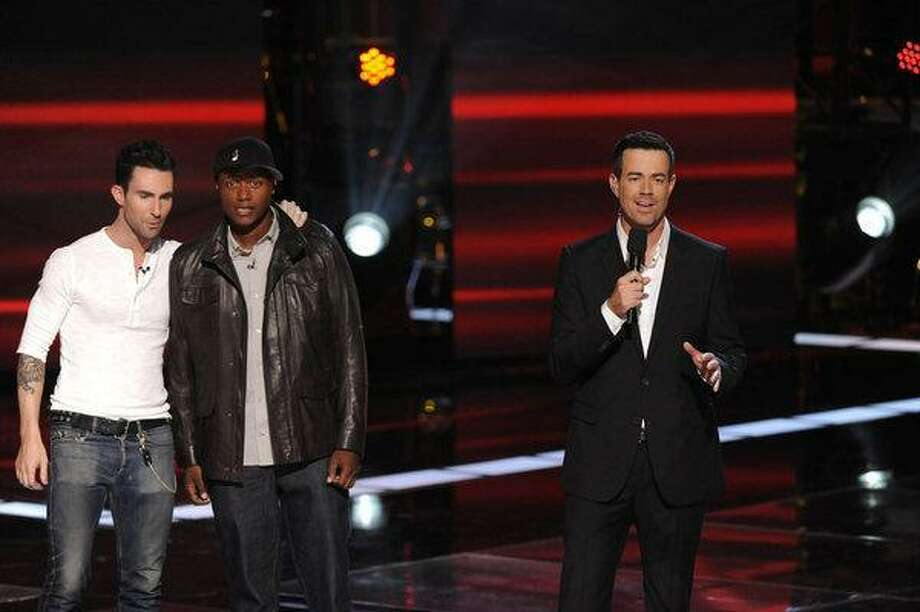 "Connecticut guy Javier Colon, center, with Adam Levine and Carson Daly in ""The Voice."" Photo: Lewis Jacobs/NBC / © NBCUniversal, Inc."