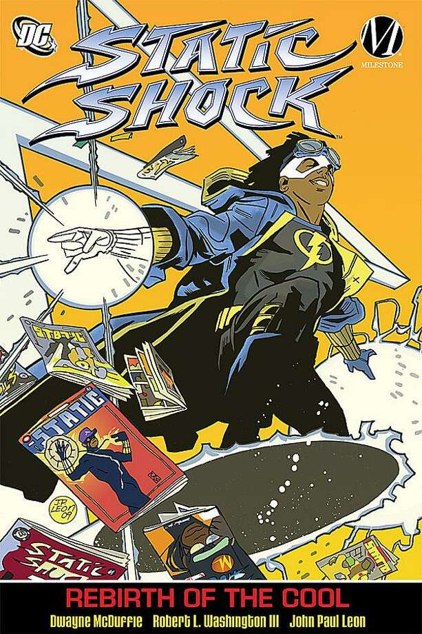 "This undated handout image provided by DC Comics shows the cover of ""Static Shock"" by Dwayne McDuffie. McDuffie, who wrote comic books for Marvel and DC and co-founded his own publishing company before crossing over to television and animation, has died. He was 49. The comic book superheroes of McDuffie's childhood were all tights and flights, blonde hair blowing on the breeze, blue eyes twinkling behind a mask. Today, the world's where the battles for truth, justice and the American way are fought are chock full of suerheroes of all races and genders. This is due in large part to McDuffie, who championed diversity during a comic, animation and television writing career that spanned more than 20 years. (AP Photo/DC Comics) Photo: AP / DC Comics"