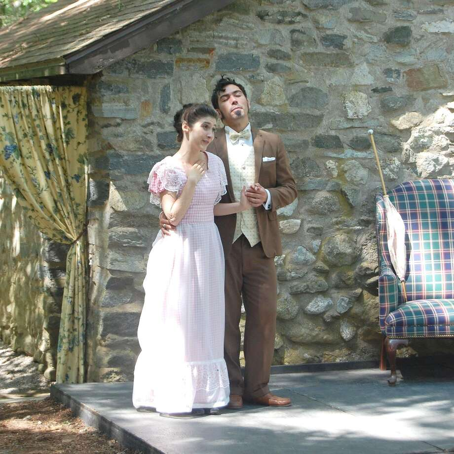 Meghan Magner and Kenneth Lundquist, Jr., perform William Gillette's play 'All the Comforts of Home' at Gillette Castle State Park on Saturday. The play runs every Saturday and Sunday through August 7.