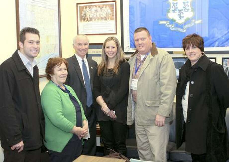 Pictured, Seth Nuzum, Coalition member; Carol Flanagan-Dupuis, Coalition member; Congressman Joe Courtney; Kathryn Glendon, Prevention Coordinator at Youth & Family Services of Haddam-Killingworth, Trooper James Connelly, Coalition Member; and Cheryl Chandler, executive director at Youth & Family Services of Haddam-Killingworth.