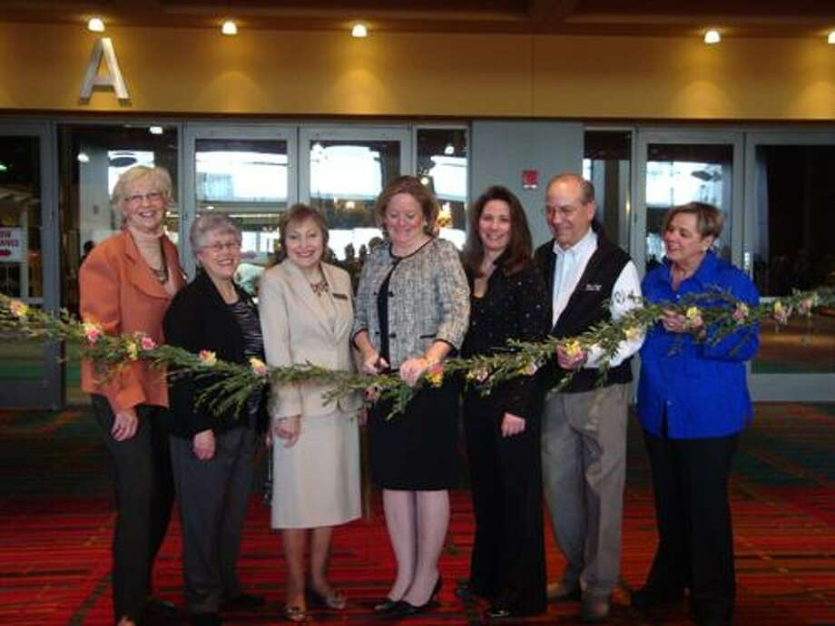 PHOTO: From left, Jane Waugh, treasurer of the Federated Garden Clubs of Connecticut; Donna Nowak, president of the Federated Garden Clubs of Connecticut; Maria Nahom, chair of Federated Garden Clubs of Conn.'s Advanced Standard Flower Show competition; Cathy Malloy, wife of Gov. Dannel P. Malloy; Kristie Gonsalves, president of North East Expos, Inc. - the show's producer; and George and Barbara Gonsalves, who founded the show 30 years ago.