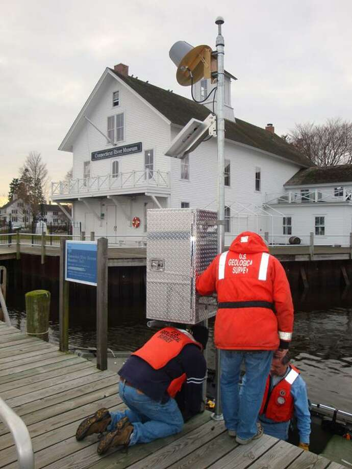 The USGS installation of water monitoring equipment earlier this year at the Connecticut River Museum's main dock will be the topic of discussion at a June 24 public forum hosted by the museum. (Submitted photo)