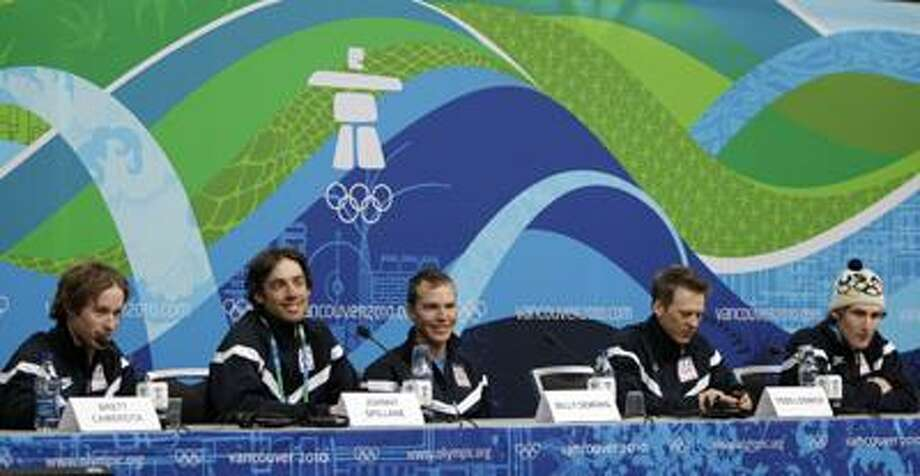 Members of team USA's nordic combined are seen during a press conference in Vancouver, British Columbia, Tuesday. Sitting from left are Brett Camerota, Johnny Spillane, Billy Demong, Todd Lodwick, and Taylor Fletcher. (Associated Press) Photo: AP / AP