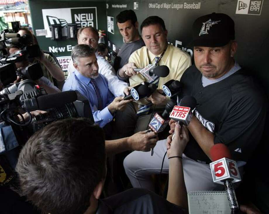 This May 19 photo shows Florida Marlins manager Fredi Gonzalez speaking to the media in the dugout before the their baseball game against the St. Louis Cardinals, in St. Louis. The Marlins dismissed Gonzalez, Wednesday.  (AP) Photo: AP / AP2010