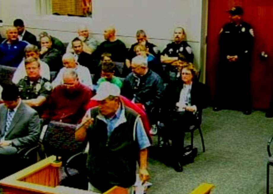Screenshot from video of the Middletown Common Council meeting on Oct. 4, showing several police officers in uniform attending the meeting.