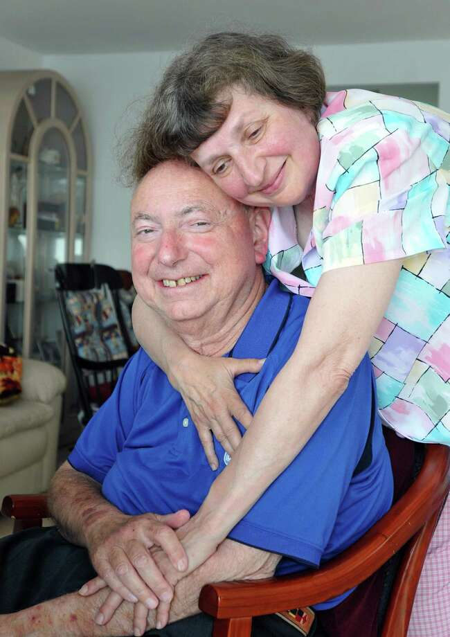 East Haven-- Dr. Mel Goldstein with the love of his life, Arlene, at his East Haven home. Goldstein has been battling multiple Myeloma for years.    Photo-Peter Casolino/New Haven RegisterCas110621   6/10/21