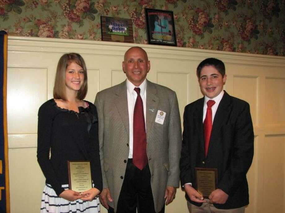 Pictured, from left to right, are award recipient Emma Soneson, Middletown Rotarian Jim Misenti and award recipient A.J. Cosenza. (Submitted photo)
