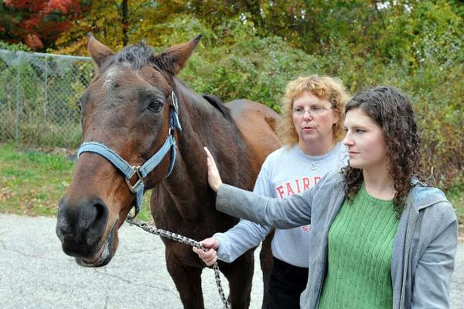 """Shelton-- Joan Flannery with her daughter Alison, along with """"Indiana"""" the horse that was allegedly sexually assaulted by  their neighbor, Marian Wegiel.  -Photo/Peter Casolino ***"""
