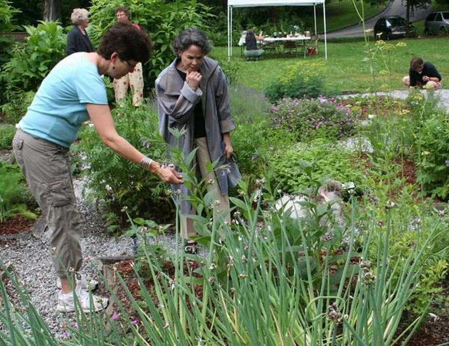 Visitors admire the Wilhelmina Ann Arnold Barnhart Memorial Garden in Haddam. (Submitted photo)