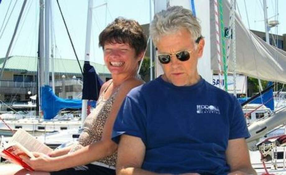 In this June 11, 2005 photo provided by Joe Grande, Phyllis Macay and Bob Riggle are seen on a yacht in Bodega Bay, Calif. Macay and Riggle, both of Seattle, are reportedly on the yacht Quest, hijacked by Somali pirates Friday, Feb. 18, 2011 off the coast of Oman. The Quest's owners, Scott and Jean Adam of California, are also onboard. (AP Photo/Joe Grande) NO SALES Photo: AP / Joe Grande