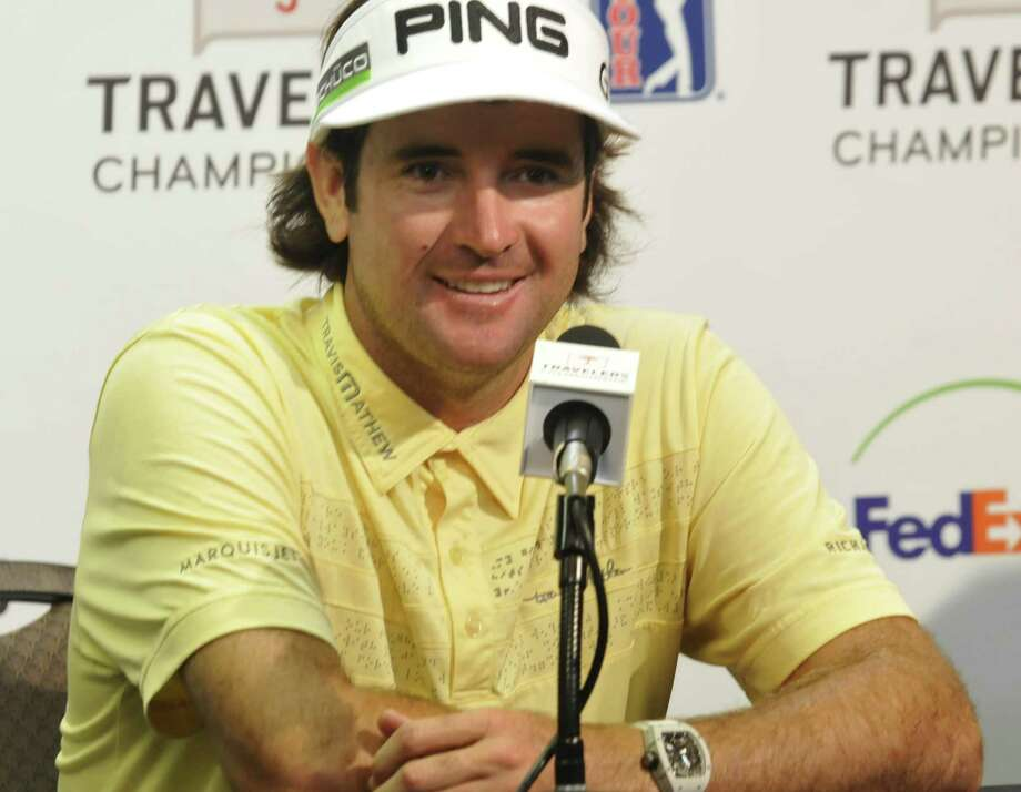 Defending champion Bubba Watson spoke at a press conference Wednesday during a rain delay at TPC River Highlands in Cromwell. (Melanie Stengel/Register)