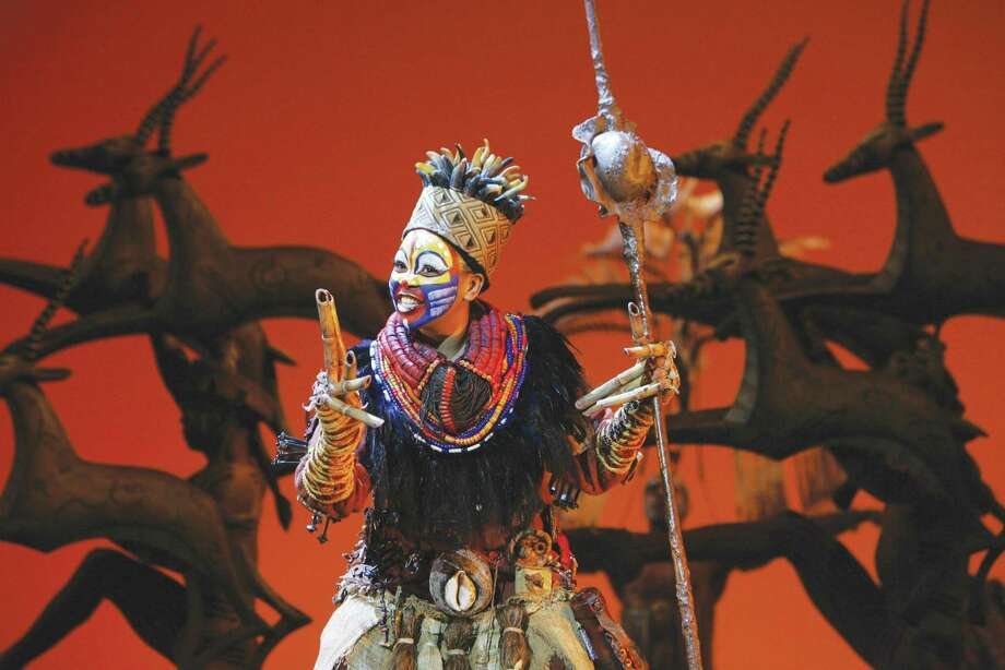 """Phindile Mkhize as """"Rafiki"""" performing the song """"Circle of Life."""" For tickets ($20.50 to $128), call the Bushnell, 166 Capitol Ave., Hartford, at (860) 987-5900 or visit online at <a href=""""http://www.bushnell.org"""">www.bushnell.org</a>. (Courtesy photo"""