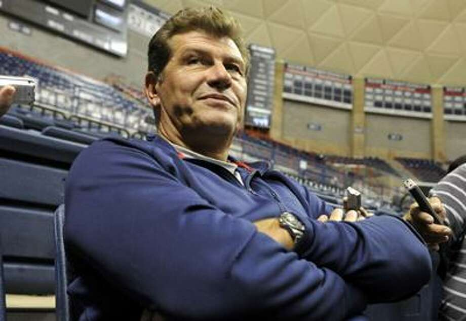 Connecticut head coach Geno Auriemma is interviewed during the team's NCAA college basketball media day in Storrs Wednesday. (AP) Photo: ASSOCIATED PRESS / FR125654 AP