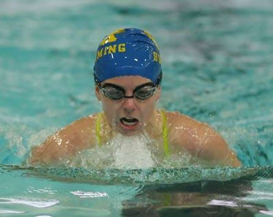 H-K's Anna Fetteroll competes in the 100 breaststroke Friday in a swim meet against Middletown High at H-K High School. (Todd Kalif