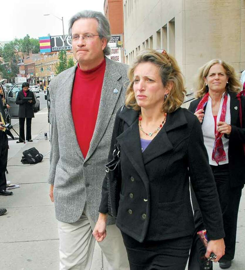 William Petit Jr. and his sister, Johanna Chapman, leave Superior Court in New Haven after Wednesday's testimony in the penalty phase of the Steven J. Hayes trial. (Brad Horrigan/Register)