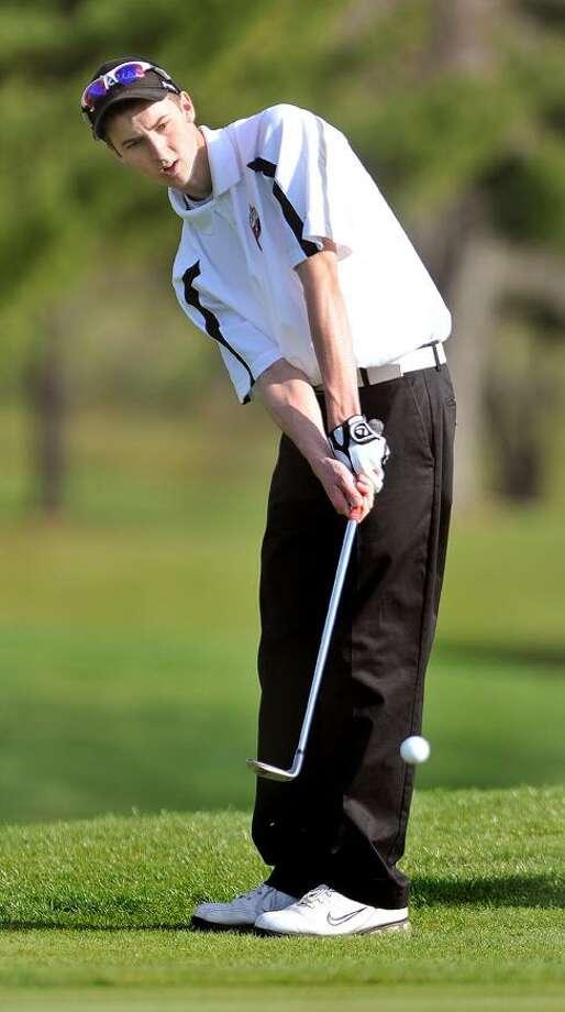 The Middletown Press  4.14.11  Portland's John Sajdak shot a 38 against Haddam-Killingworth at Portland Golf Club which earned him medalist honors. / TheMiddletownPress