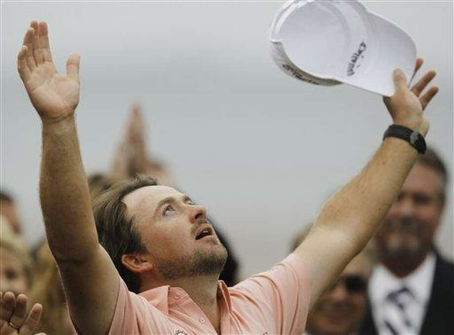 Graeme McDowell of Northern Ireland reacts at the trophy ceremony after winning the U.S. Open golf tournament  Sunday, June 20, 2010, at the Pebble Beach Golf Links in Pebble Beach, Calif.  (AP Photo/Chris Carlson) Photo: AP / AP