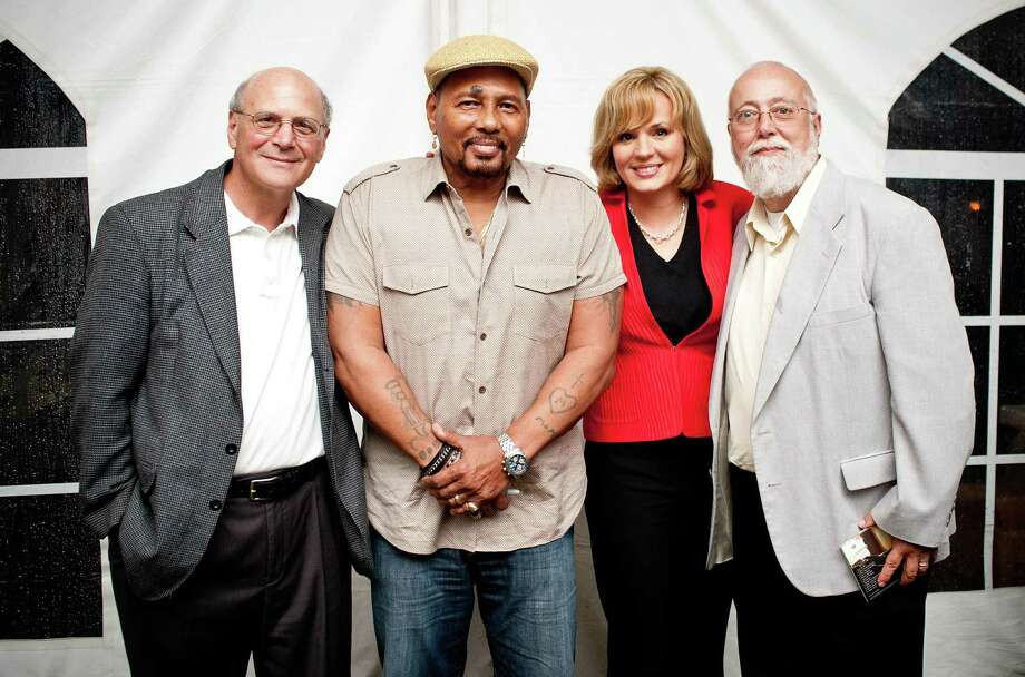 From left, Peter Nucci, CEO; Aaron Neville; Emcee Lisa Carberg, NBC Connecticut; and John LaRosa, chairman of the board. / KIM TYLER