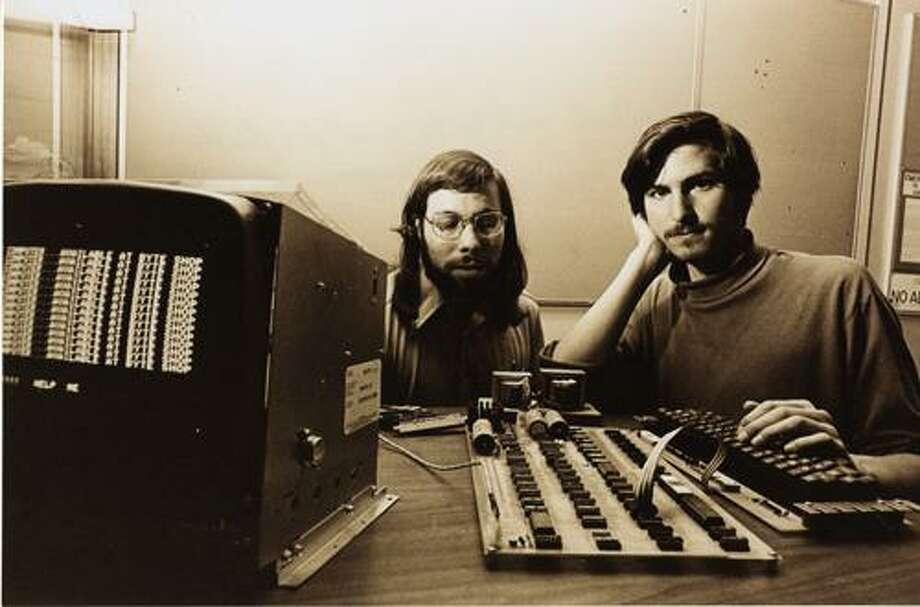 Photo courtesy of Apple Computer Inc.   Steve Wozniak and Steve Jobs with Apple I