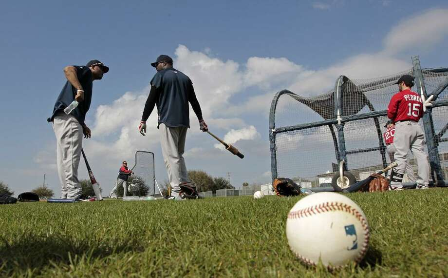 during spring training baseball in Fort Myers, Fla., Thursday, Feb. 17, 2011. (AP Photo/Dave Martin)