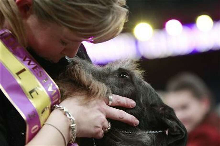Handler Angela Lloyd kisses Hickory, a Scottish deerhound, after the 135th Westminster Kennel Club Dog Show Tuesday, Feb. 15, 2011, at Madison Square Garden in New York. Hickory won best in show.  (AP Photo/Frank Franklin II) Photo: AP / AP